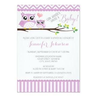 Owl Baby Shower Invitation | Purple Chevron | Girl