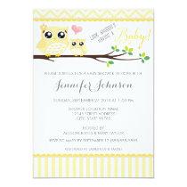 Owl Baby Shower Invitation | Yellow Chevron