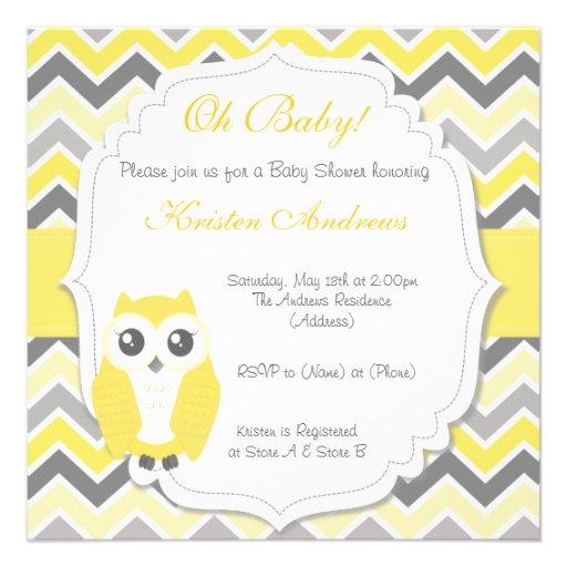 owl baby shower invitation yellow chevron square invitation card