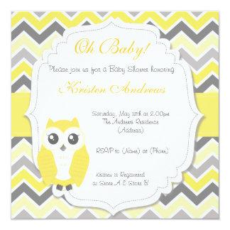 "Owl Baby Shower Invitation Yellow Chevron 5.25"" Square Invitation Card"