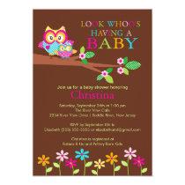 "Owl Baby Shower Invitations 5"" X 7"" Invitation Card"