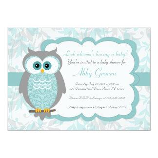 Owl Baby Shower Invitations, Aqua, Gray - 930