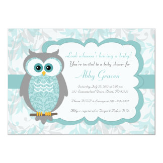 Owl Baby Shower Invitations, Aqua, Gray   930 Card