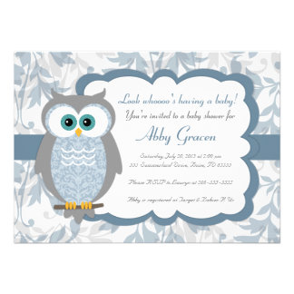 Owl Baby Shower Invitations Blue Gray - 830