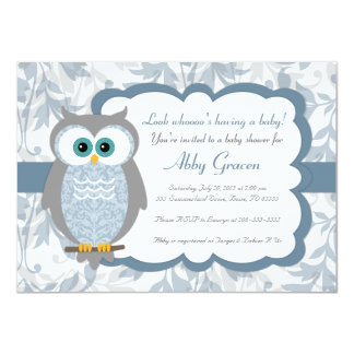 Owl Baby Shower Invitations, Blue, Gray - 830 4.5x6.25 Paper Invitation Card