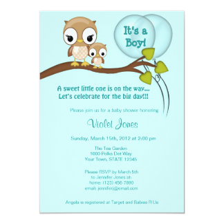 Owl Baby Shower Invitations Boy Mommy BLUE