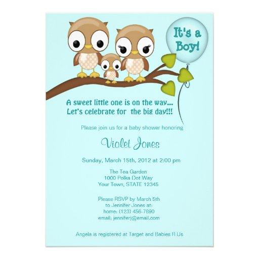 owl baby shower invitations boy mommy daddy 5 x 7 invitation card