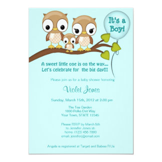Owl Baby Shower Invitations Boy Mommy Daddy