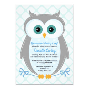 Owl baby boy shower invitations announcements zazzle owl baby shower invitations boys blue gray mint filmwisefo Image collections