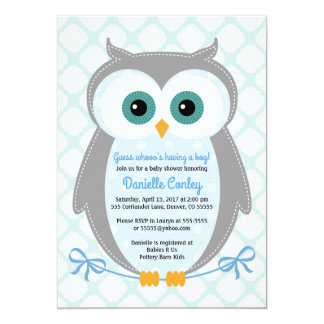 Amazing Owl Baby Shower Invitations Boys Blue Gray Mint