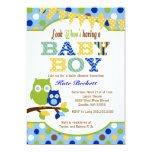 "Owl Baby Shower Invitations for Baby Boy 5"" X 7"" Invitation Card"