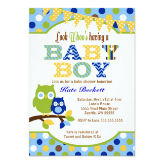Owl Baby Shower Invitations for Baby Boy