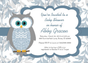 Owl baby shower invitations zazzle owl baby shower invitations for boys blue 830 filmwisefo