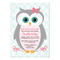 Owl baby shower invitations announcements zazzle owl baby shower invitations for girls mint pink filmwisefo