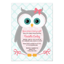 Owl baby shower invitations announcements zazzle owl baby shower invitations for girls mint pink filmwisefo Gallery