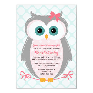 Owl baby shower invitations zazzle owl baby shower invitations for girls mint pink filmwisefo