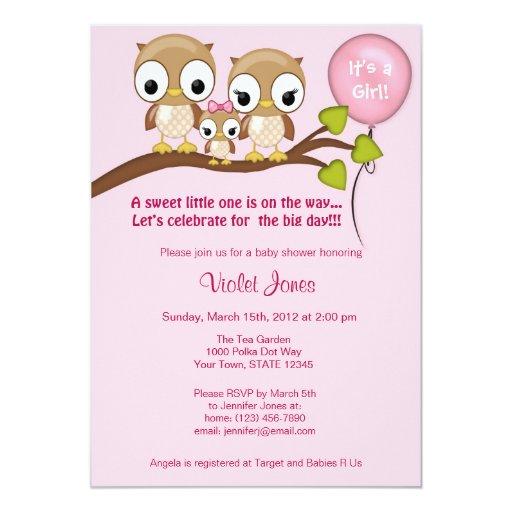 "Owl Baby Shower Invitations Girl Mommy Daddy 5"" X 7"" Invitation Card"