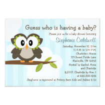 Owl Baby Shower Invitations Invites Blue