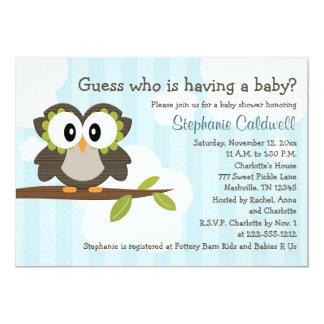 Owl Baby Shower Invitations Invites Blue