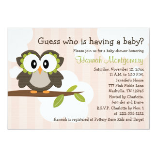 Owl Baby Shower Invitations Invites Pink