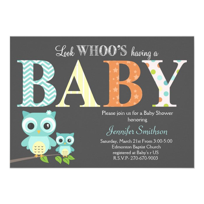 owl baby shower look whoo 39 s having a baby card zazzle