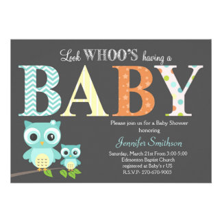 """Owl Baby Shower - Look Whoo's Having a Baby 5"""" X 7"""" Invitation Card"""
