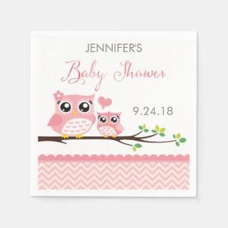 Owl Baby Shower Napkins | Custom Pink Chevron Girl