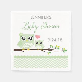 Owl Baby Shower Napkins | Green Chevron