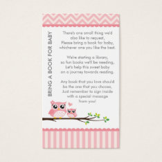 Owl Baby Shower Pink Bring A Book Shower Insert at Zazzle