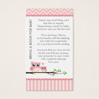 Owl Baby Shower Pink Bring a Book Shower Insert