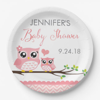 Owl Baby Shower Plate | Pink Chevron Girl 9 Inch Paper Plate