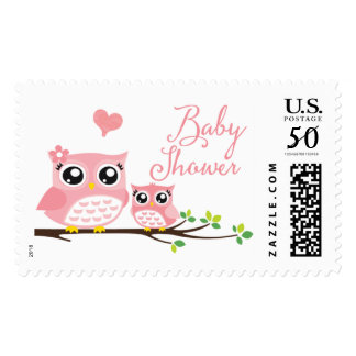Owl Baby Shower Postage Stamp | Pink