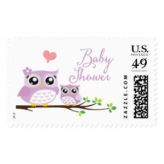 Owl Baby Shower Postage Stamp | Purple