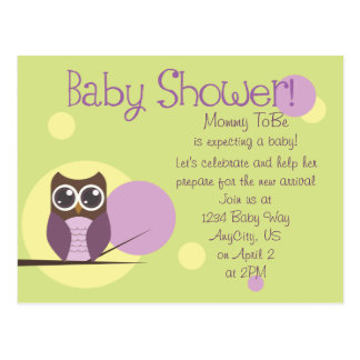 Owl Baby Shower Post Card