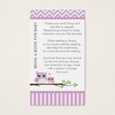 Owl Baby Shower Purple Bring A Book Shower Insert at Zazzle