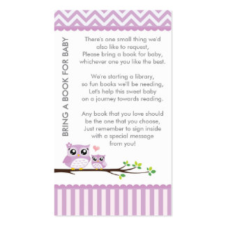 Owl Baby Shower Purple Bring a Book Shower Insert Double-Sided Standard Business Cards (Pack Of 100)