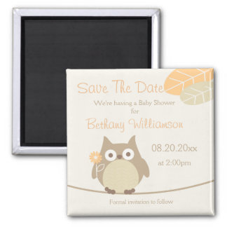 Owl Baby Shower Save The Date Neutral Gender Magnet