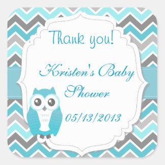 Owl Baby Shower Sticker Blue Chevron