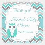Owl Baby Shower Sticker Green Chevron Square Stickers