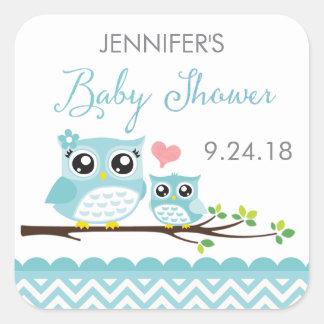 Owl Baby Shower Sticker / Label | Blue Chevron Boy