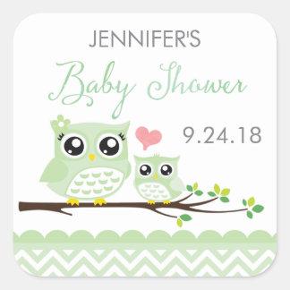 Owl Baby Shower Sticker / Label | Green Chevron
