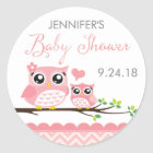 Owl Baby Shower Sticker Label | Pink Chevron Girl