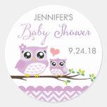 Owl Baby Shower Sticker Label Purple Chevron Girl
