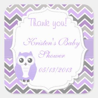 Owl Baby Shower Sticker Lilac Chevron Stickers