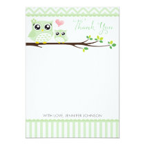 Owl Baby Shower Thank You Card | Green Chevron