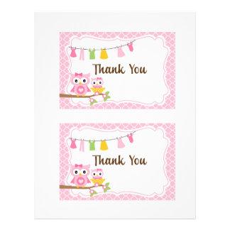 Owl Baby Shower thank you card Letterhead