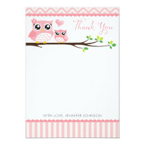 Owl Baby Shower Thank You Card | Pink Chevron Girl