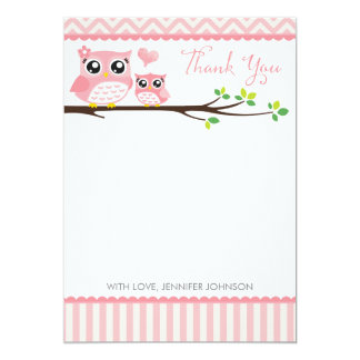 Owl Baby Shower Thank You Card   Pink Chevron Girl