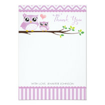 Owl Baby Shower Thank You Card Purple Chevron Girl