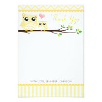 Owl Baby Shower Thank You Card | Yellow Chevron